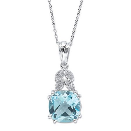 8.77 CT TW Princess-cut Blue Topaz and White Topaz Accent Pendant in Sterling Silver