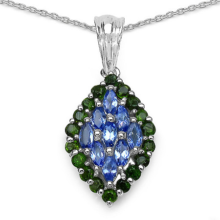 1.35 CTW Tanzanite and Chrome Diopside Marquise-Shaped Pendant in Sterling Silver