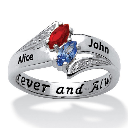 Sterling Silver Couple's Marquise Birthstone & Name Ring with Diamond Accent