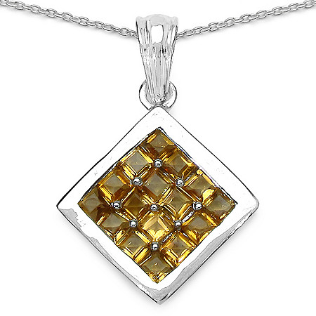 2.40 CT TW Citrine Square-Shaped Pendant in Sterling Silver