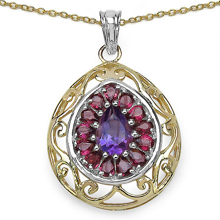 3.95 CT TW Amethyst and Rhodolite Pendant in 14K Gold over Sterling Silver