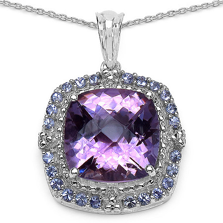 9.82 CT TW Cushion-Cut Amethyst And Tanzanite Pendant In Sterling Silver