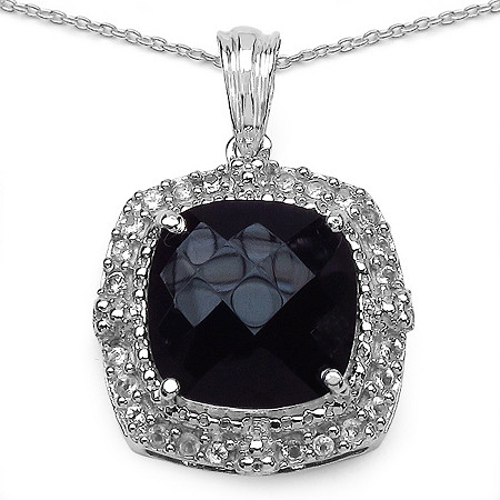 .96 CT TW Cushion-Cut Black Onyx And White Topaz Pendant In Sterling Silver