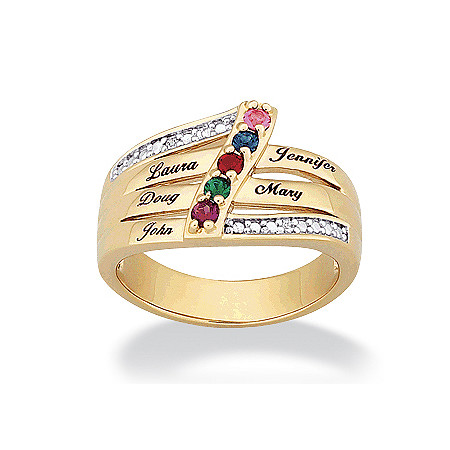 14k Gold-Plated Family Name & Birthstone Ring with Cubic Zirconia Accent