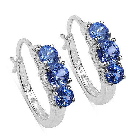 1.67 CT TW Tanzanite Hoop Pierced Earrings In Sterling Silver