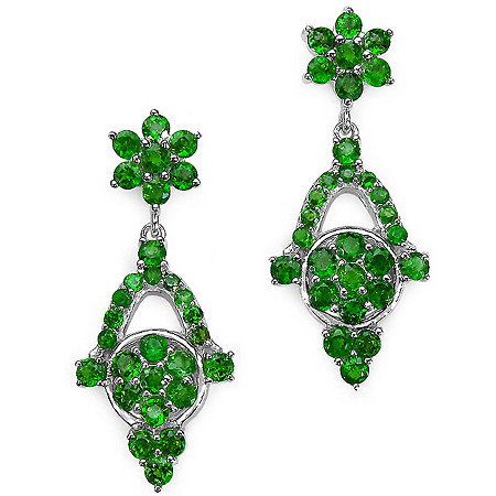 Chrome Diopside Drop Pierced Earrings in Sterling Silver