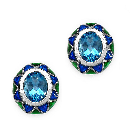 3.20 CT TW Bezel-set Blue Topaz and Enamel Stud Pierced Earrings in Sterling Silver