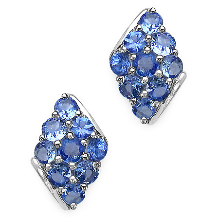 1.80 CT TW Tanzanite Stud Pierced Earrings in Sterling Silver
