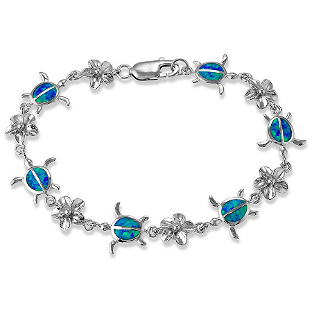 Blue Lab-Created Opal Alternating Sea Turtle And Sterling Flower Bracelet In Sterling Silver