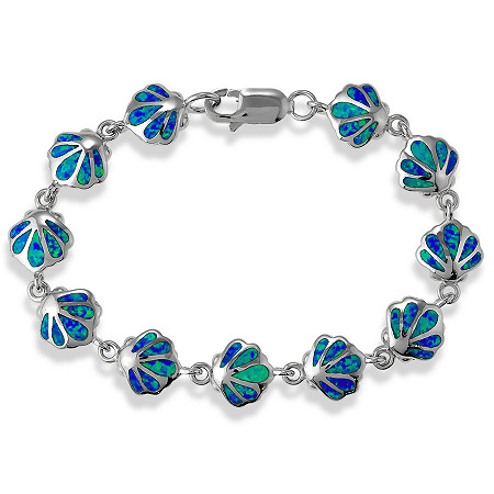 Blue Lab-Created Opal Scallop Shell Motif Bracelet In Sterling Silver