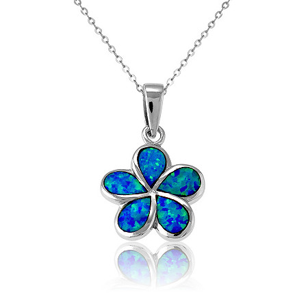 Blue Lab-Created Opal Flower Pendant and Chain In Sterling Silver