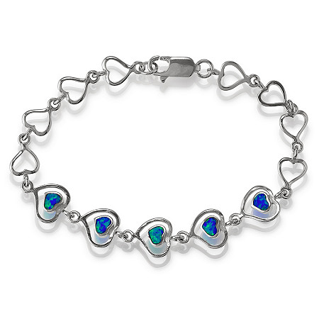 Blue Lab-Created Opal Open Heart Bracelet in Sterling Silver