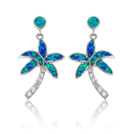 Blue Lab-Created Opal Palm Tree Drop Pierced Earrings In Sterling Silver