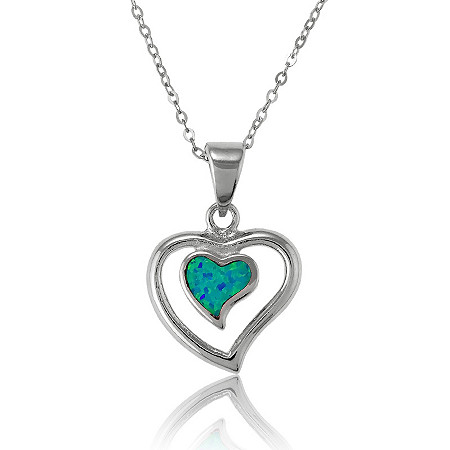 Blue Lab-Created Opal Heart Pendant and Chain In Sterling Silver