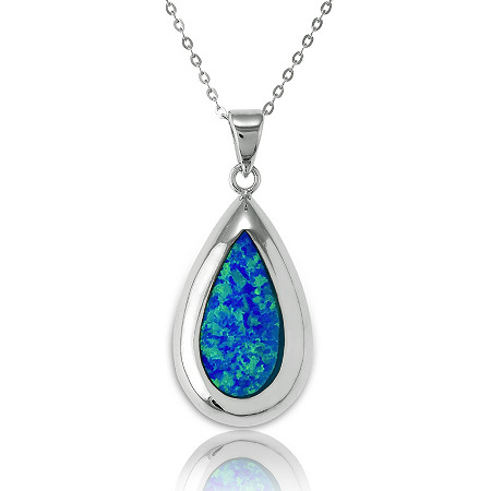 Blue Lab-Created Opal Teardrop Pendant and Chain In Sterling Silver