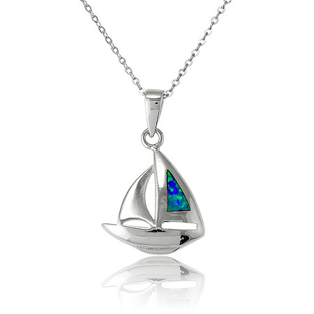 Blue Lab-Created Opal Sailboat Pendant and Chain In Sterling Silver