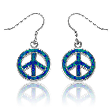 Blue Lab-Created Opal Peace Sign Drop Pierced Earrings In Sterling Silver