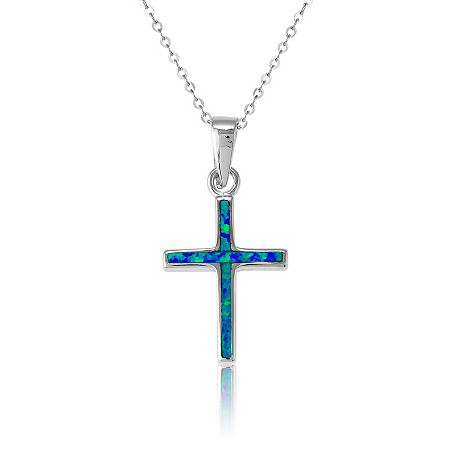 Blue Lab-Created Opal Cross Pendant and Chain In Sterling Silver