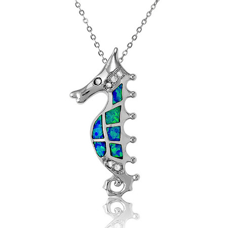Blue Lab-Created Opal Seahorse Pendant and Chain In Sterling Silver