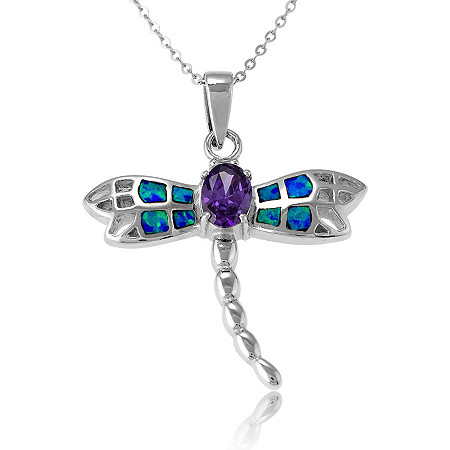 1.30 CT Purple DiamonUltra™ Cubic Zirconia and Blue Lab-Created Opal Dragonfly Pendant