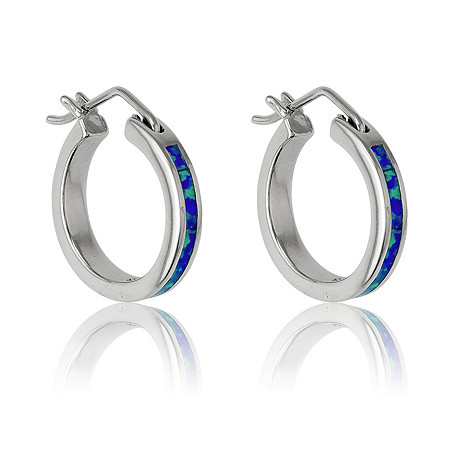 Blue Lab-Created Opal Inlaid Hoop Pierced Earrings In Sterling Silver