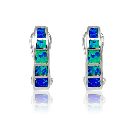 Blue Lab-Created Opal Inlaid Omega Back Pierced Earrings In Sterling Silver