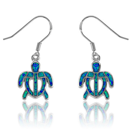 Blue Lab-Created Opal Turtle Drop Pierced Earrings In Sterling Silver