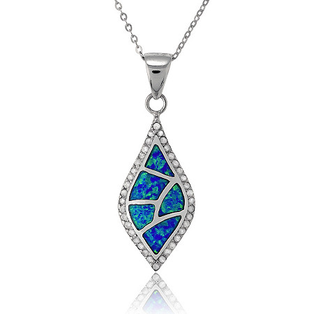 Blue Lab-Created Opal Drop Pendant and Chain In Sterling Silver