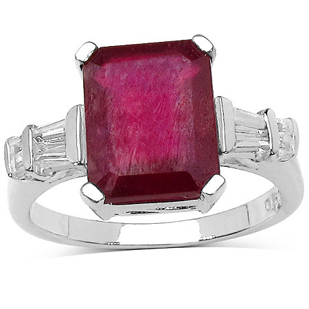4.0 CT Ruby And .26 CT White Topaz Ring In Sterling Silver