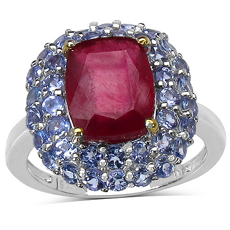 2.20 CT Ruby and 1.56 CTW Tanzanite Ring in Sterling Silver