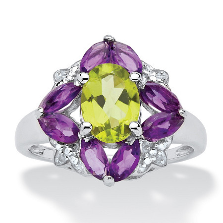 2.55 CT TW Peridot and Amethyst Ring with Diamond Accents in Sterling Silver
