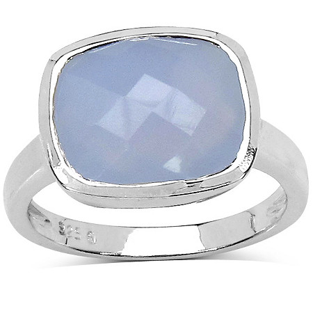 Bezel-Set Blue Chalcedony Ring In Sterling Silver