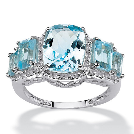 5.60 CT TW Blue Topaz Ring in Sterling Silver