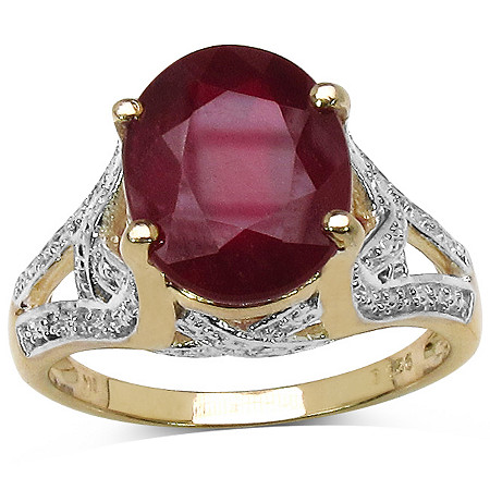 3.80 TCW Oval-Cut Ruby Ring in 14k Gold Over Sterling Silver