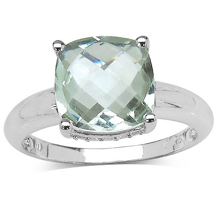 3.70 CT TW Green Amethyst and White Topaz Ring in Sterling Silver