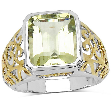 5.60 CT Yellow Topaz Filigree Ring in Tutone 14k Gold over Sterling Silver