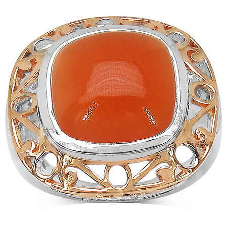 Peach Moonstone Openwork Ring in Tutone Sterling Silver and 14k Rose Gold over Sterling Silver