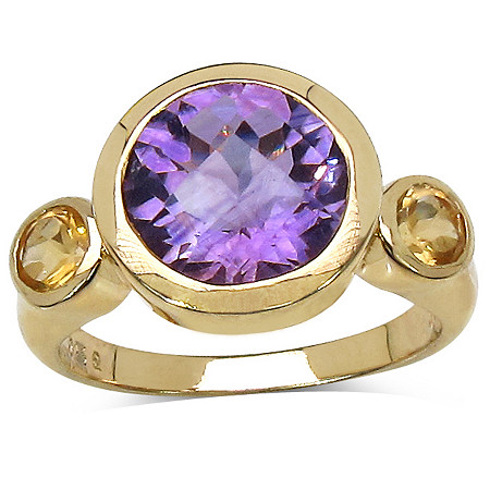 3.45 CT TW Amethyst and Citrine Ring in 14k Gold over Sterling Silver