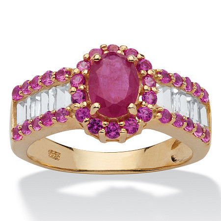 3.15 TCW Oval-Cut Genuine Ruby and White Topaz 14k Gold Over Silver Ring