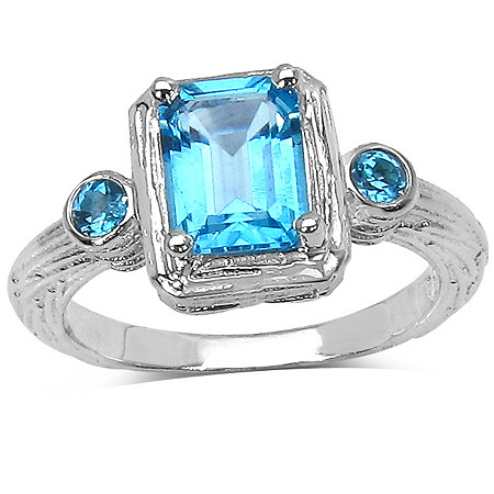 2 CT TW Swiss Blue Topaz Ring in Sterling Silver