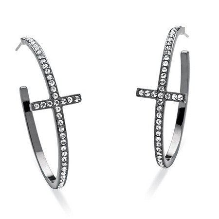 Round Crystal Black Rhodium-Plated Curved-Cross Hoop Earrings 1 1/2 Diameter