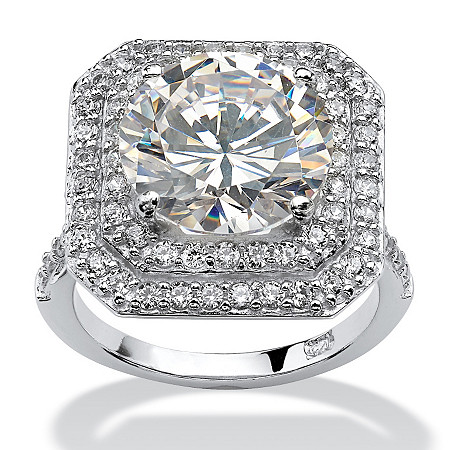 7.27 TCW Round Cubic Zirconia Platinum Over Sterling Silver Engagement Anniversary Ring