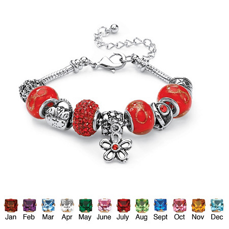 Birthstone-Color Silvertone Bali-Style Beaded Charm and Spacer Bracelet 7