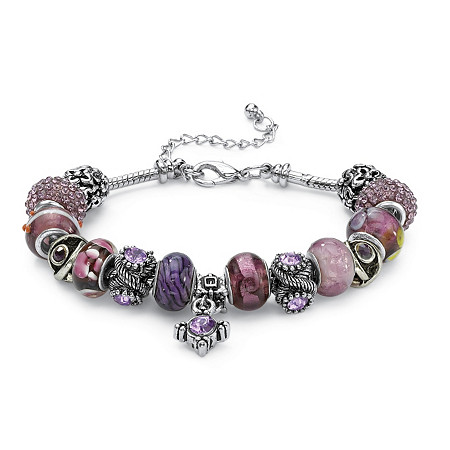 Round Purple Crystal Silvertone Bali-Style Beaded Charm and Spacer Bracelet 8