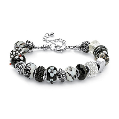 Round Black and White Crystal Silvertone Bali-Style Beaded Charm and Spacer Bracelet 8