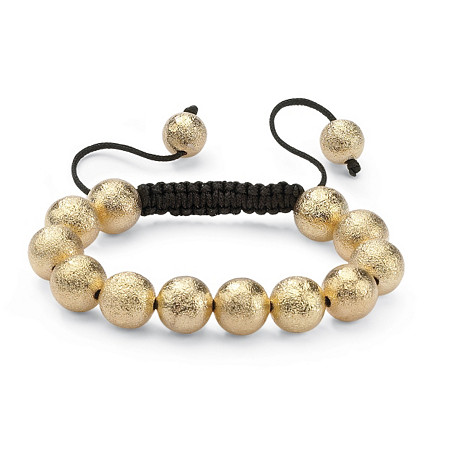 Textured Ball Beaded Bracelet in Yellow Gold Tone and Macrame Rope 8