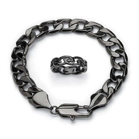 Men's Black ION-Plated Stainless Steel Barbed Wire Wedding Band and Curb-Link Chain Bracelet 9