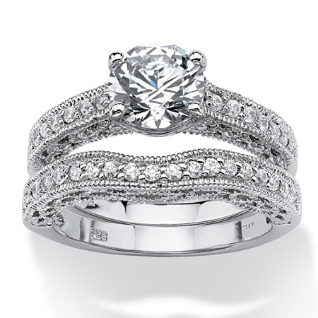 2.60 TCW Round Cubic Zirconia Platinum Over Sterling Silver Filigree Bridal Engagement Ring Set