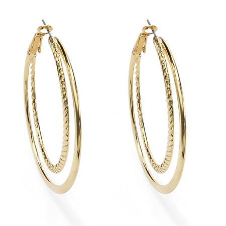 Yellow Gold Tone Double Hoop Earrings