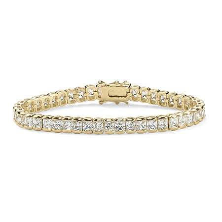 12.60 TCW Princess-Cut Cubic Zirconia 14k Gold-Plated Straight Line Tennis Bracelet 7 1/2